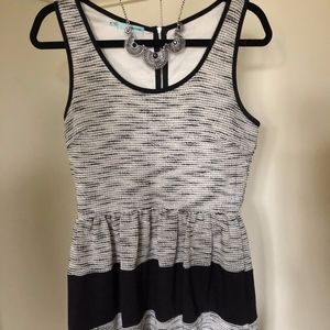 Black & White Knit Strip Dress